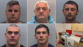 (Left to right) Brett Seldon, Gary Turley, Marc Smith, Richard Armitage, Shaun Greenham and the kitchen where drugs were mixed