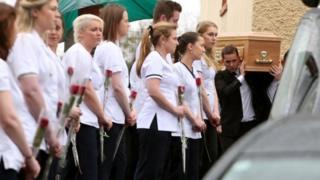 Mourners at Karen Buckley's funeral