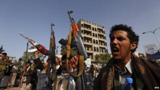 Houthi supporters rally against ongoing Saudi-led military operations in Yemen