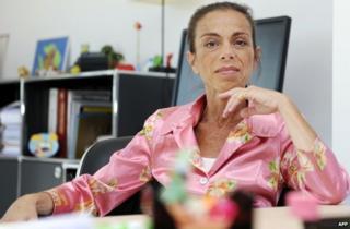 Agnes Saal seen in her office in the INA (Institut National de l'Audiovisuel) in 2014