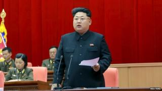 North Korean leader Kim Jong-un speaks during the 5th meeting of training officers of the Korean People's Army in this undated photo released by North Korea's Korean Central News Agency (KCNA) in Pyongyang 26 April 2015