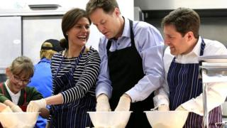 Nick Clegg and his wife Miriam cook up a crumble at Ivy Lane Primary School in Chippenham