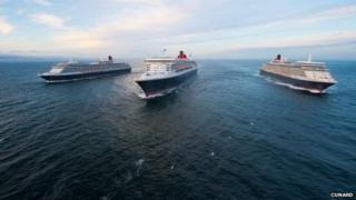 From left to right: Queen Elizabeth, Queen Mary 2 and Queen Victoria