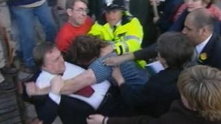 John Prescott grapples with a protester