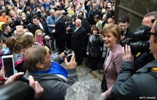 First Minister and leader of the SNP Nicola Sturgeon visits by helicopter as she campaigns on May 2, 2015 in Inverness, Scotland.