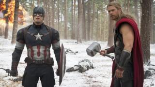 Captain America, played by Chris Evans, and Thor, played by Chris Hemsworth, in Avengers: Age of Ultron