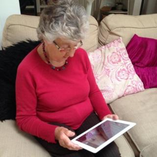 My mum using a tablet