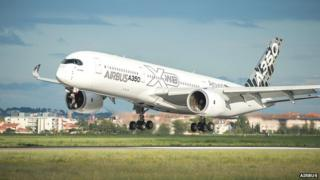 A350 takes off