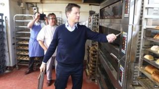 Nick Clegg helps make bread at the Lovingly Artisan Sourdough Bakery in Kendal, Lake District.
