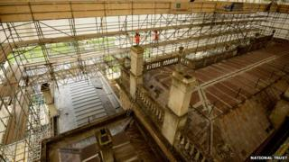 View of the roof of Dyrham Park from the new roof walkway