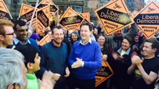 Liberal Democrat leader, Nick Clegg, greets supporters in his home constituency of Sheffield Hallam