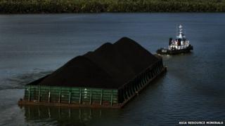 Coal being shipped in Indonesia