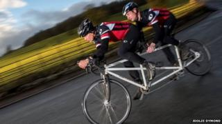 Dominic Irvine and Charlie Mitchell on tandem