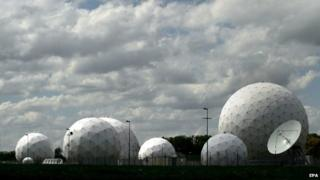 Radar domes are located on the premises of a communications intercept station of German intelligence agency BND in Bad Aibling, Germany (7 May 2015)