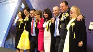 Nicola Sturgeon with newly elected SNP Glasgow MPs