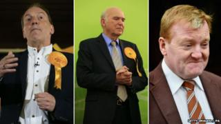 Simon Hughes, Vince Cable and Charles Kennedy who lost their seats
