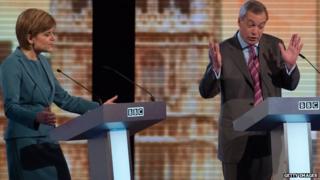 Nicola Sturgeon and Nigel Farage