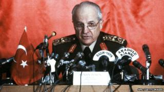 Turkey's new President Kenan Evren talking during a press conference where he announced his six-point programme 16 September 1980