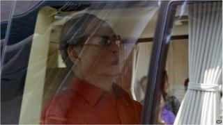 Thai King Bhumibol Adulyadej leaves Siriraj Hospital in Bangkok, 10 March 2015.