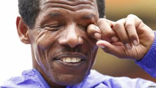 "Athletics - Great CityGames Manchester 2015 - Manchester - 10/5/15 Ethiopia""s Haile Gebrselassie wipes his eye during an interview after the race where he announced his retirement Action Images via Reuters / Andrew Boyers Livepic"