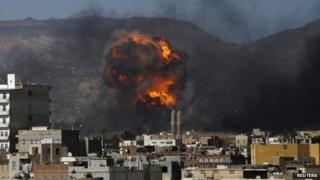 Air strike on a military site controlled by the Houthi rebel movement in Sanaa, Yemen (12 May 2015)