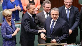 Julie Bishop, Tony Abbott, Joe Hockey and other Australian government ministers in Parliament