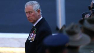 Prince Charles at ANZAC Cove in commemoration of the Gallipoli War on the Gallipoli peninsula, Turkey, early 25 April 2015