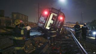 A derailed Amtrak train near in Philadelphia.