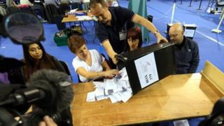 A ballot box is emptied to be counted for the Glasgow constituencies in Glasgow