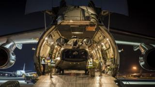 RAF Chinook helicopter flying to Nepal