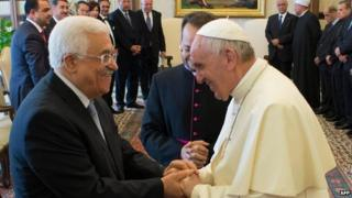 Pope Francis with Palestinian President Mahmoud Abbas. 16 May 2015
