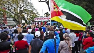 Mozambicans protest against xenophobic attack in South Africa in Maputo. 25 April 2015