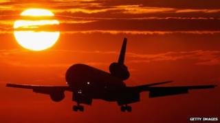 aeroplane in flight at sunset