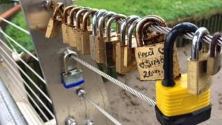 Love locks on bridge in Boston