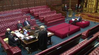 Chamber of the House of Lords as peers are sworn in