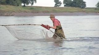 Lave net fisherman