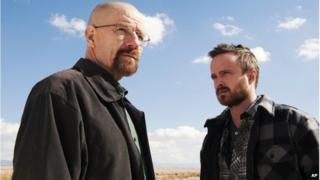 Bryan Cranston as Walter White, left, and Aaron Paul as Jesse Pinkman in a scene from Breaking Bad