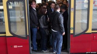 A crowded Deutsche Bahn train