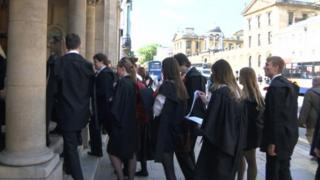 Students queuing to enter exams