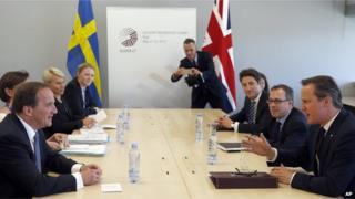 David Cameron holding talks with Swedish counterpart Stefan Lofven