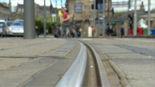 Tram tracks at Haymarket