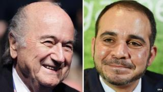 A composite file picture of FIFA President Joseph Blatter (L, taken on 23 March 2015 in Vienna, Austria) and Jordanian Prince Ali Bin Al Hussein (R, taken on 03 February 2015 in London, Britain)