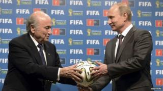"Russia""s President Vladimir Putin (R) and FIFA President Sepp Blatter take part in the official handover ceremony for the 2018 World Cup scheduled to take place in Russia, in this file picture taken in Rio de Janeiro, Brazil, July 13, 2014."