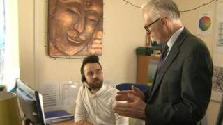 Norman Lamb MP and one Mind's workers