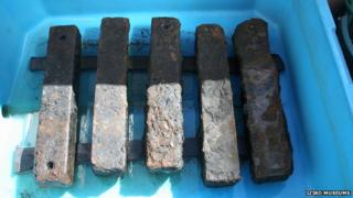 Iron bars used as ballast