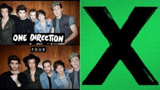 One Direction Four and Ed Sheeran X album covers