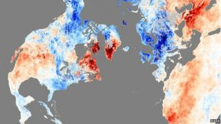 Land temperatures, December 2010