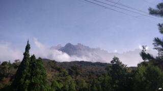 Mount Kinabalu is photographed hours after a magnitude 5.9 earthquake shook the area in Kundasang, Sabah on 5 June