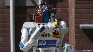 DRC-Hubo robot competing at Darpa Robotics Challenge in Pomona, CA, 6 June 2015