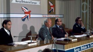Members of the cross-party political group Keep Britain in Europe: Jeremy Thorpe, Edward Heath, Roy Jenkins and Lord Harris (l-r)